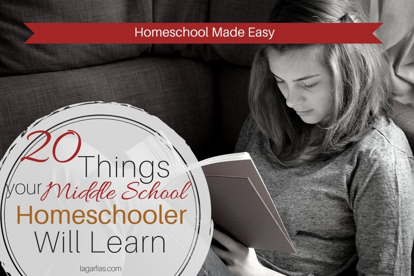 List of 20 things your #homeschool middle school student will learn! #homeschoolmadeeasy